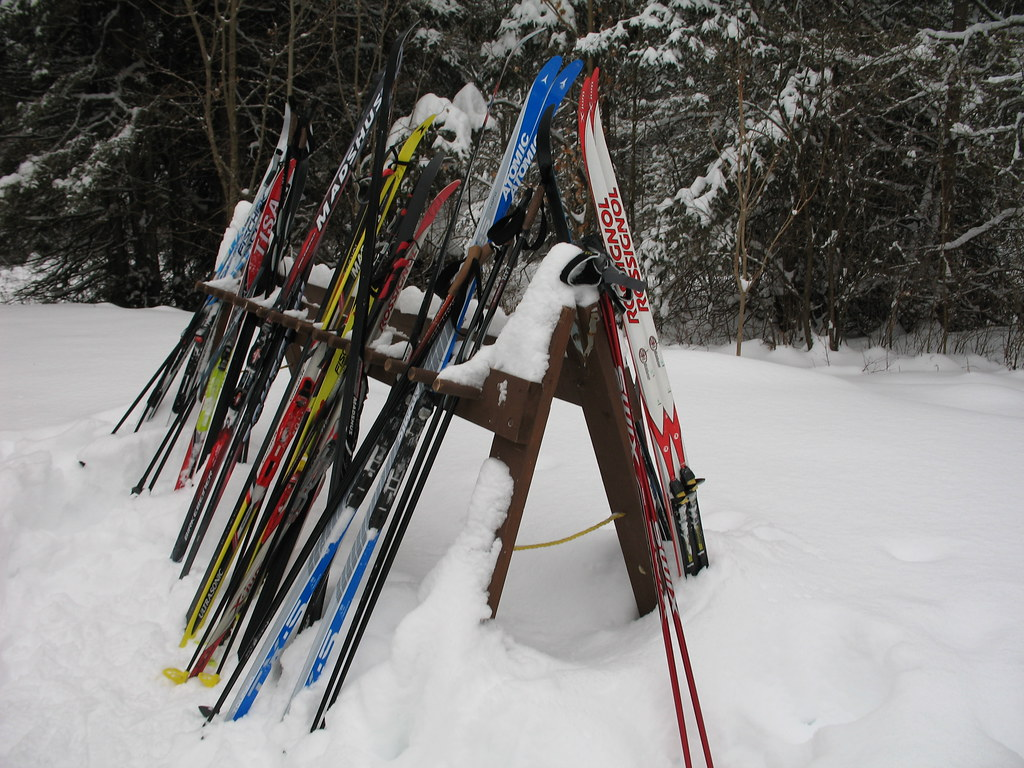 Ski rack outside Healey