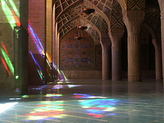 colors (Giorgio Montersino) Tags: trip travel reflection glass colors persian iran middleeast persia 2006 mosque shiraz mideast nasirolmolk