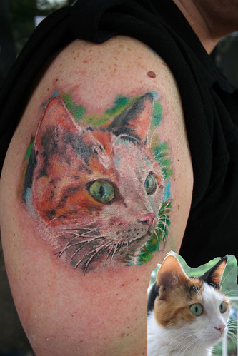 cat tattoo by Mirek vel Stotker