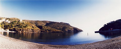 Portbou, like paradise (almogaver) Tags: blue sky panorama film beach water analog 35mm bay mar lomo xpro kodak crossprocess horizon cel catalunya blau elitechrome expired costabrava aigua badia 100asa platja wather portbou baha analogic kompakt kodakelitechrome100 kodakelitechrome almogaver horizonkompakt procscreuat marmediterrnia 120 davidroca