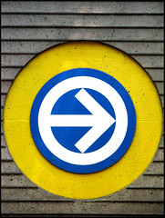 Station Prfontaine ( CHRISTIAN ) Tags: blue station sign yellow architecture jaune circle underground subway logo concrete montral metro montreal mtro bleu explore round arrow stm cercle prfontaine rond bton flche mtlguessed superbmasterpiece gwim 1on1colorfulphotooftheweek 1on1colorfulphotooftheweekmay2008