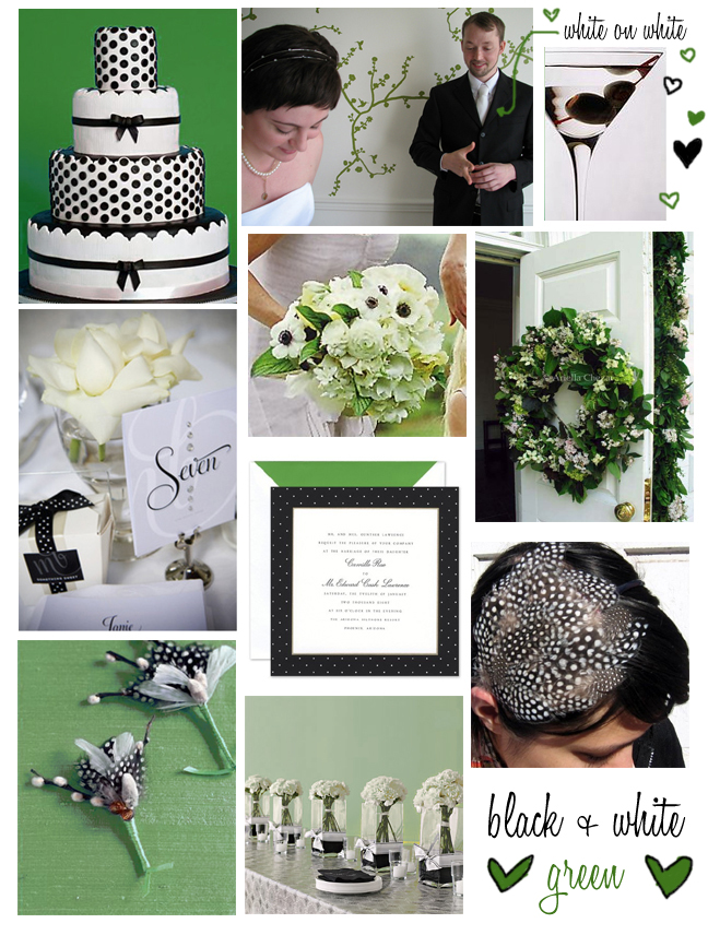 Wedding Wednesday Green Black White Polka Dot Inspiration Board
