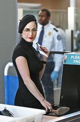 Dita's Fly Style (dita.von) Tags: california usa glasses losangeles airport pale luggage heels redlipstick beret burlesque louisvuitton blackdress rednails beltedcoat
