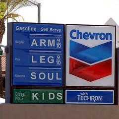 Arm, Leg, Soul, Kids. Price of gas. (Boyce Duprey) Tags: california price kids arm leg cost gas soul future petrol chevron hanford techron