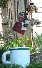 Florence Ave Folk Art -- Server (ATIS547) Tags: urban sculpture art coffee statue metal florence dish recycled folk patrick ave waitress avenue sebastopol server amiot