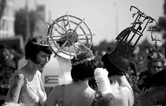 Coney Island's Three Graces (Prof. Jas. Mundie) Tags: nyc blackandwhite bw blancoynegro monochrome coneyisland monochromatic mermaids ferriswheel mermaidparade burlesque wonderwheel biancoenero blackdiamond headdress thecyclone peopleschoice brooklynny parachutedrop tattooed blancetnoir denoswonderwheel schwarzweis copyrightprotected coneyislandusa jamesmundie jamesgmundie profjasmundie bwartaward jimmundie fixedshadows copyrightjamesgmundieallrightsreserved mermaidparade2008 coneyislandusa26thannualmermaidparade