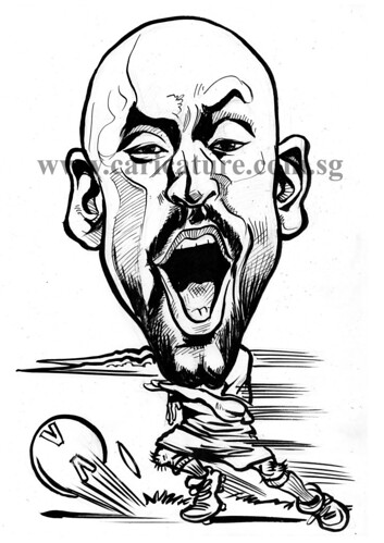 Caricature of Nicolas Anelka ink outline watermark