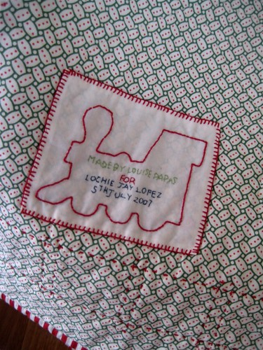 Train quilt label