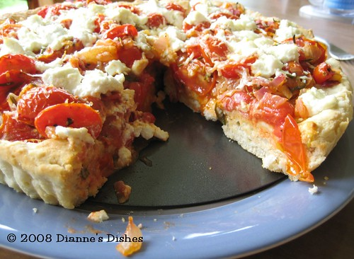 Tomato Goat Cheese Pizza Tart: The Inside