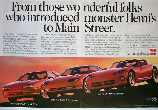 car magazine stealth dodge 1992 daytona viper supercar v10 iroc dodgeviper carads magazineads dodgedaytonairoc