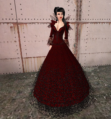 Crimson Shadow- Webbed n Lace - Long skirt & Collar