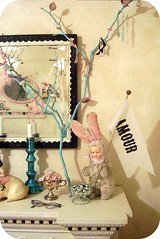 on our mantel... (holiday_jenny) Tags: baby bunny beach home apt corner vintage silver ribbons aqua doll branch sweet antique painted country cottage livingroom ornaments amour twig magpie vignette bits inresidence mantel shabbychic