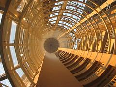 Atrium (jlwelsh) Tags: atlanta shadow sun georgia hotel amber circles atrium concentric converginglines