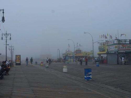The fog on the Coney Island Boardwalk
