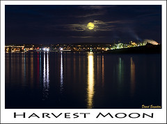 Harvest Moon over Halifax Harbour (Dave the Haligonian) Tags: autumn sky moon canada reflection night clouds lights harbor novascotia harbour smoke harvest irving halifax harvestmoon dartmouth easternpassage georgesisland oilrefinery