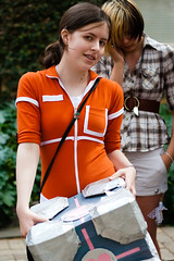 Chell and Companion (yeshayden) Tags: cute girl braces cosplay portal chell weightedcompanioncube manifest2008