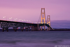 Mackinac Bridge Sunset (James Marvin Phelps) Tags: city bridge sunset outdoors photography michigan great lakes lakemichigan upper peninsula huron lakehuron mackinacbridge jmp mackinac mackinaw mackinawcity mandj98 jamesmarvinphelps mackinacbridgesunset