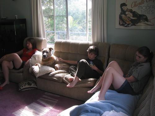 Charlie Daniels watching TV