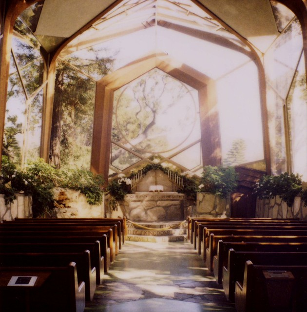 Looking up the aisle of the Wayfarers Chapel in Ranco Palos Verdes, CA