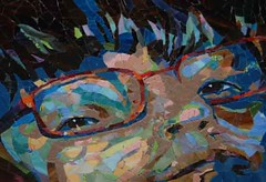 She Wears Red Glasses - Done (Carol Shelkin, Artist) Tags: color art philadelphia glass portraits artist mosaic fineart  mosaics commissions wwwcarolshelkinmosaicscom carolshelkin wwwcarolshelkinmosaiccom carolsoritzshelkin carolshelkinmosaics
