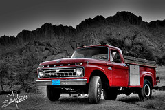 F-350 , 1966 (HDR) (Salamah.y) Tags: old red classic ford car hail truck 1966 350 f 600 saudi arabia 1967 dodge 100 gmc 250  1965  ksa