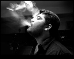 (Aithal's) Tags: portrait blackandwhite man men blackwhite smoke dude smoking nosmoking blacknwhite mangalore murali canons3 aithal aithals