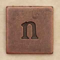 Copper Square Letter n