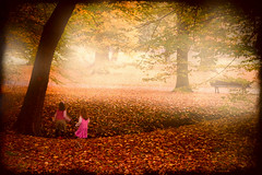 Two Ghosts (Philipp Klinger Photography) Tags: park pink autumn light mist tree fall girl rock fog forest germany children deutschland leaf europa europe child hessen dress branches magic ghost bad skirt leafs philipp mdchen hesse kleid klinger homburg kurpark topofthefog aplusphoto dcdead flickrsfinest100faves
