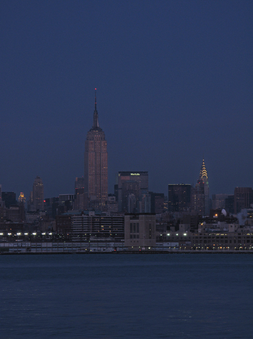 the Hudson River, Empire State Building, and Chrysler Building at night, Manhattan, NYC