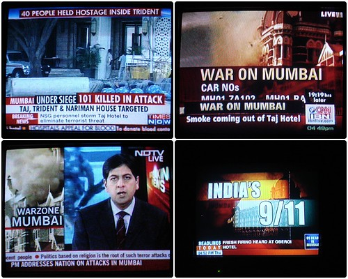 various news channels on Mumbai attack