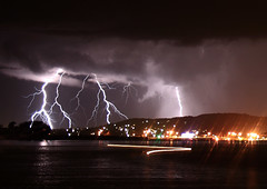 Lightning over Swansea - NSW Australia (ImageBud) Tags: longexposure light summer lake storm water weather swansea night canon reflections dark newcastle australia nsw lightning thunder 40d blacksmithsbeach camdub