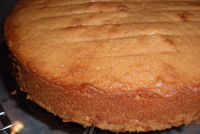 caramel cake before frosting