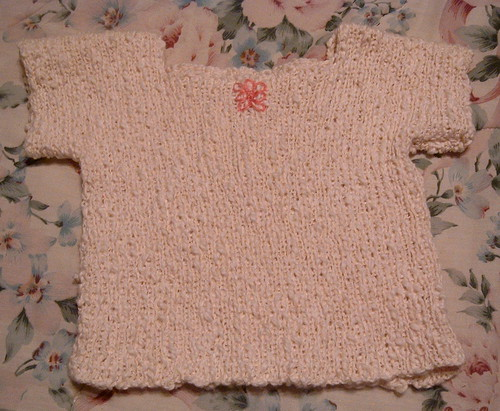 Handknit Cotton Baby Top with Linen Embroidered Flower
