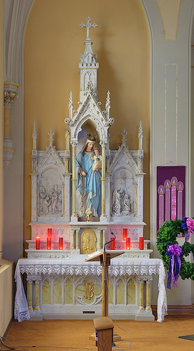 Saint Bernard Roman Catholic Church, in Albers, Illinois, USA - Mary's altar