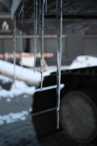 Icicles on a back-hoe