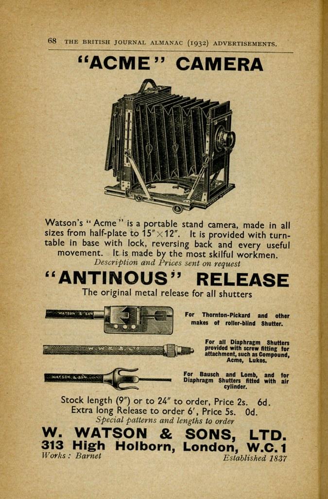 "W. Watson ""Acme"" Camera - ""Antinous"" Release 1932"