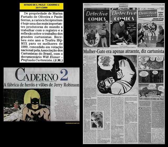 """""""Mulher-Gato era apenas atraente, diz cartunista"""" - Estado de São Paulo - 23/11/2000"""