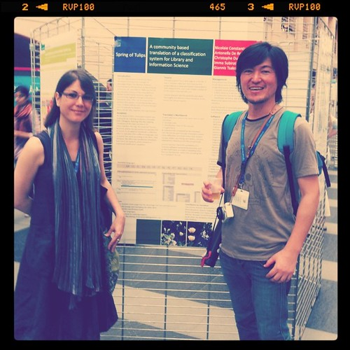 had drink w/ Imma Subirats in front of her poster. #oai7