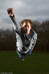 Whee! (Hugh Beauchamp) Tags: trees james flying cloudy superman jameshill strobist awardflickrbest unbeliev