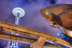 Space Needle Monorail EMP (Dave Zombie) Tags: seattle longexposure night space tracks needle experiencemusicproject monorail emp hdr 5xp pentaxk10d davidrprestonphotography