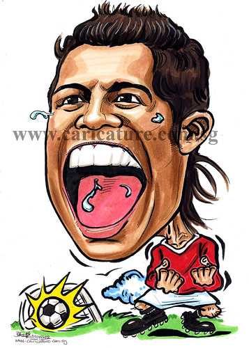 caricature Cristiano Ronaldo colour watermark