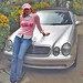 Sabrina Parisi con la sua Mercedes 430 a Beverly Hills in California