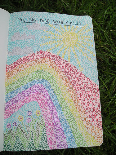 Wreck this journal day 1 Fill this page with circles!!