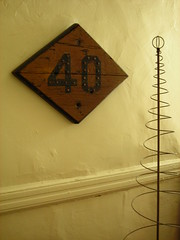 40 (omoo) Tags: wood newyorkcity home interiors apartment westvillage books diningroom 40 greenwichvillage railroadsign 40mph diamondshape