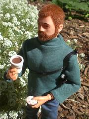 ADVENTURE BREAKFAST (8 Skeins of Danger) Tags: blue red green coffee breakfast garden gijoe fuzzy joe adventure doughnut custom gi adventurer kitbash fuzzhead styro 8skeinsofdanger