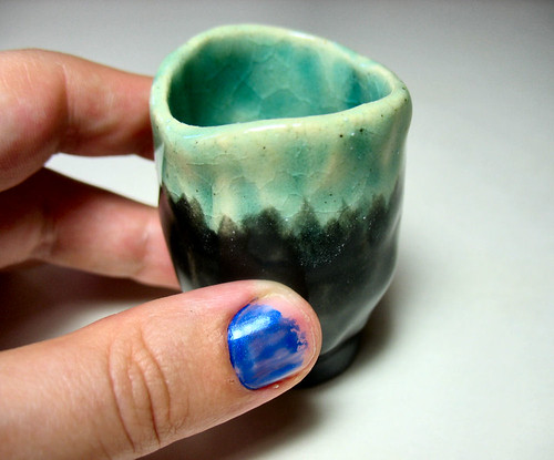 Wee Oceanic Blue and Black Ceramic Cup