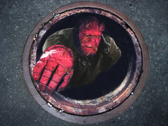 Hellboy II Manhole Cover Sewer Poster (Brechtbug) Tags: street new york city nyc boy red film halloween monster stone photoshop movie studio poster square outside army for golden tromp scary hand with near parking hell lot next oeil help cover ii mtv horror demon devil l times nightmare manhole creature 2008 sewer hellboy retouched 42nd trompe the loeil