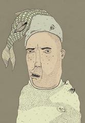 _ (pearpicker.) Tags: portrait people fish illustration digital beard head drawing eating ugly