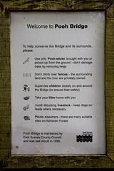Notice by Pooh Bridge in Ashdown Forest (Fred Dawson) Tags: bridge forest river sussex pooh winnie ashdown