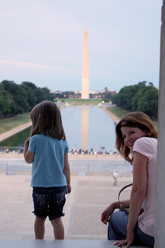 Lauren and Mommy at the Lincoln Memorial.